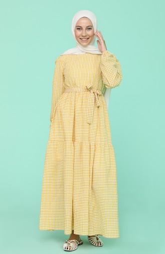 Kareli Büzgülü Elbise 5340B-02 Sarı