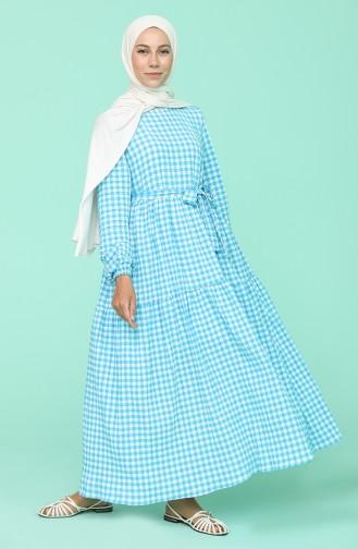 Kareli Büzgülü Elbise 5340A-06 Açık Mavi