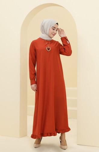 Robe Hijab Couleur brique 1202-11
