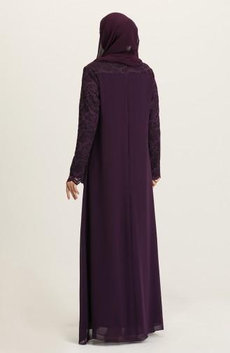 Purple Hijab Evening Dress 3002-02
