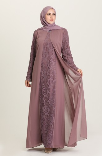 Dusty Rose İslamitische Avondjurk 3002-03