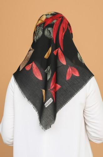 Desenli Çekme Cotton Eşarp 11400-04 Siyah Kırmızı