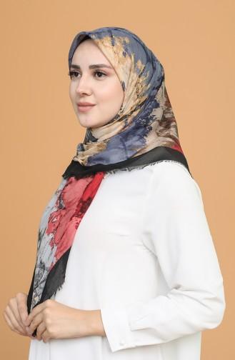 Batik Desen Çekme Cotton Eşarp 11401-01 Siyah Koyu Gül Kurusu