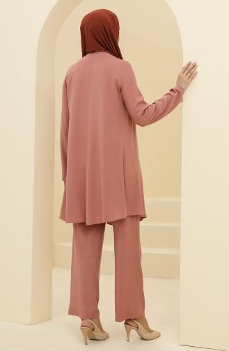 Robalı Tunik Pantolon İkili Takım 8344-01 Gül Kurusu
