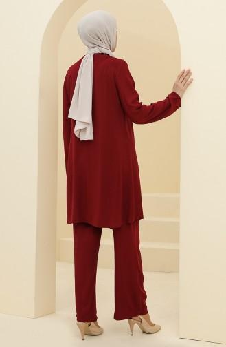 Robalı Tunik Pantolon İkili Takım 8344-02 Bordo