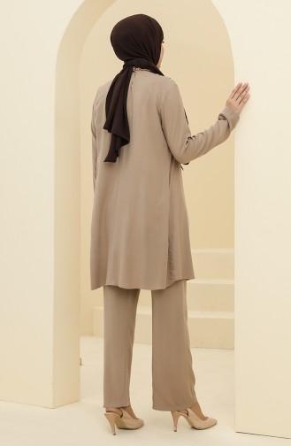 Robalı Tunik Pantolon İkili Takım 8344-06 Vizon