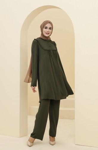 Robalı Tunik Pantolon İkili Takım 8344-07 Yeşil