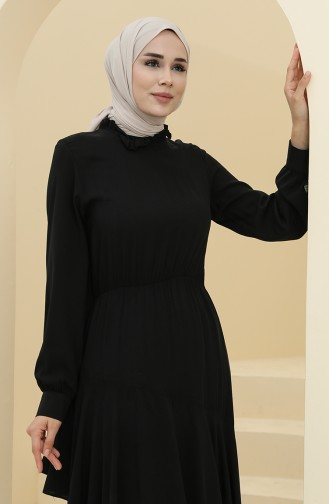 Black Hijab Dress 8330-07