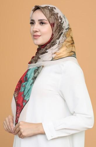Batik Desen Çekme Cotton Eşarp 11401-02 Kum Beji Kırmızı