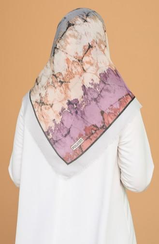Batik Desen Çekme Cotton Eşarp 11401-05 Gümüş Gri Açık Mürdüm