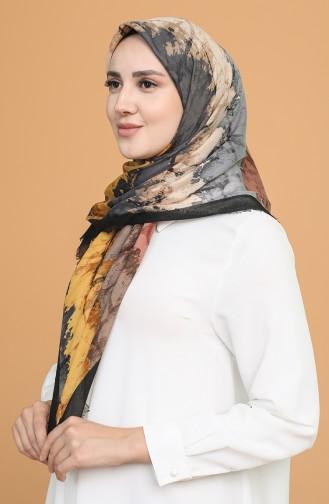 Batik Desen Çekme Cotton Eşarp 11401-06 Siyah Hardal