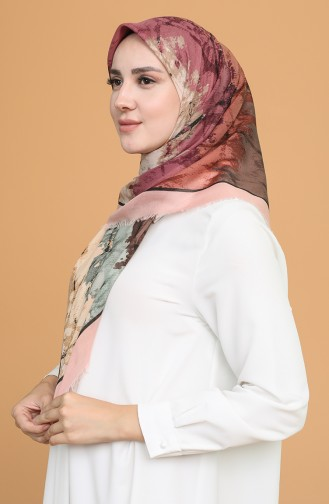 Batik Desen Çekme Cotton Eşarp 11401-12 Somon Açık Kahve