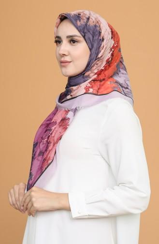 Batik Desen Çekme Cotton Eşarp 11401-16 Açık Lila Oranj