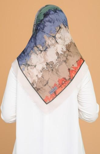 Batik Desen Çekme Cotton Eşarp 11401-19 Kum Beji Zümrüt Yeşili