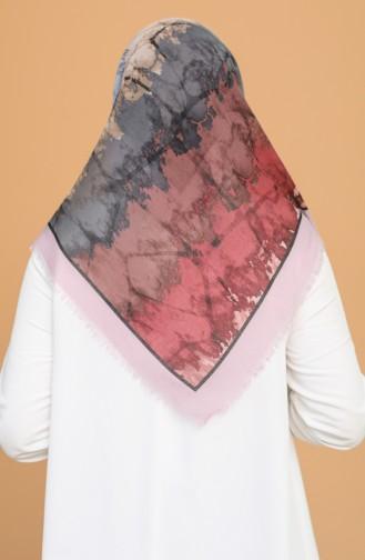 Batik Desen Çekme Cotton Eşarp 11401-20 Toz Pembe Gül Kurusu