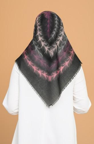Tüy Desen Çekme Cotton Eşarp 11397-01 Siyah Pudra