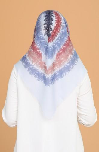 Tüy Desen Çekme Cotton Eşarp 11397-10 Buz Mavisi Gül Kurusu