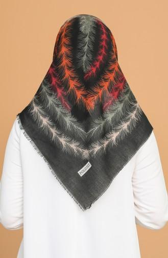 Tüy Desen Çekme Cotton Eşarp 11397-12 Siyah Oranj