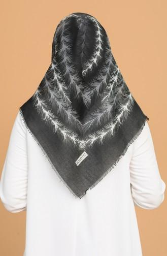 Tüy Desen Çekme Cotton Eşarp 11397-13 Siyah Gri