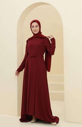 Habillé Hijab Bordeaux 6053-04