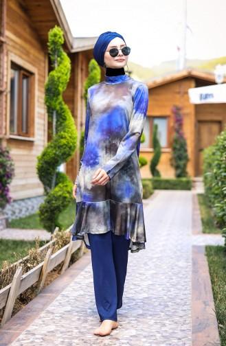 Batik Desenli Tasarım Tam Kapalı Tesettür Mayo 4´lü Set Marina Mayo M2022 Lacivert