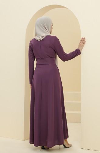 Kemerli Elbise 5018-01 Mor