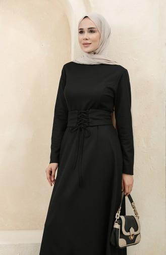 Kemerli Elbise 5018-03 Siyah