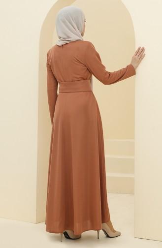 فستان عسلي 5018-04