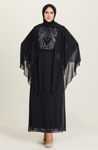 Büyük Beden Pullu Abiye Elbise 9384-03 Lacivert