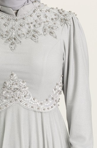 Gray Hijab Evening Dress 1551-04