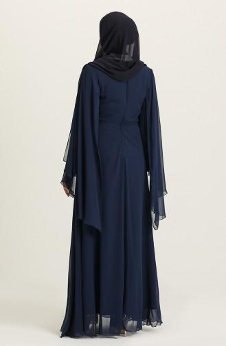 Büyük Beden Taş Baskılı Abiye Elbise 2052-01 Lacivert