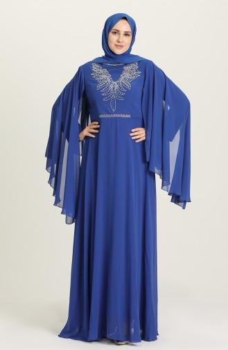 فساتين سهرة بتصميم اسلامي أزرق 2052-05
