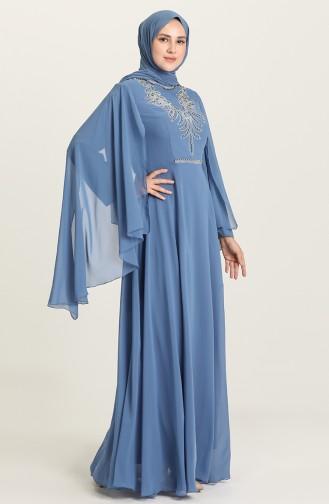 Indigo Hijab Evening Dress 2052-11