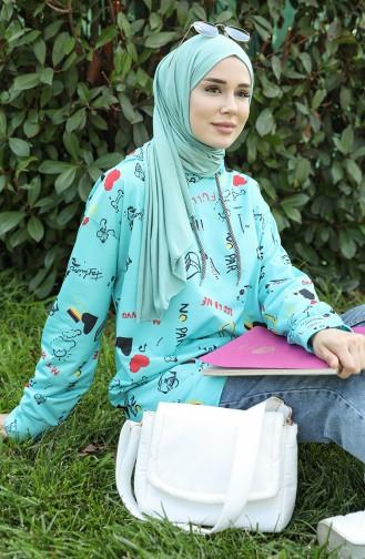 Sweatshirt Turquoise 5021O-04