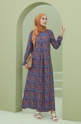 Navy Blue Hijab Dress 3302-02