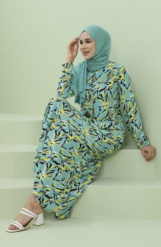 Green Hijab Dress 3302-07