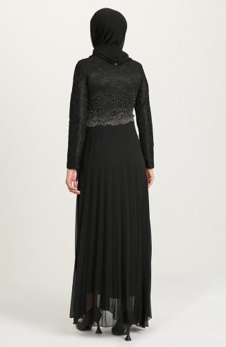 Taş Baskılı Şifon Abiye Elbise 3030-02 Siyah