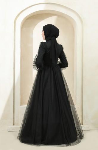Black Hijab Evening Dress 3405-03