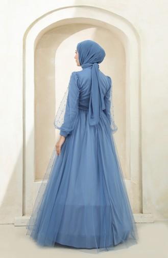 Indigo Hijab-Abendkleider 3405-06