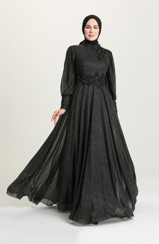 incili Simli Abiye Elbise 1551-02 Siyah