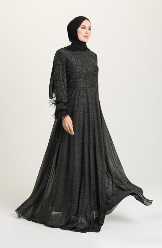 فساتين سهرة بتصميم اسلامي أسود 3062-05