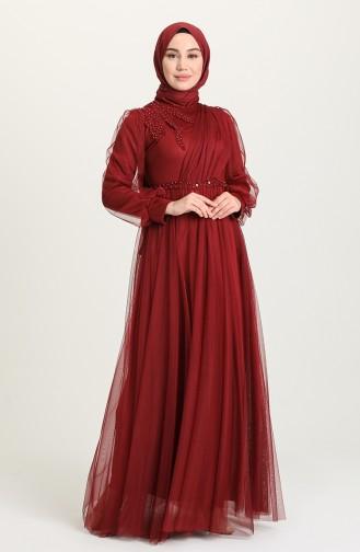 İnci Detaylı Tül Tesettür Abiye Elbise 4215-05 Bordo