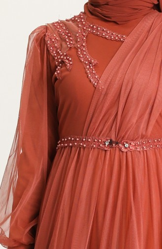 Kupfer Hijab-Abendkleider 4215-06