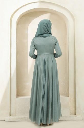 Simli Abiye Elbise 5397-05 Su Yeşili