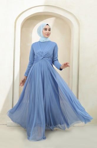 Blue Hijab Evening Dress 5397-13