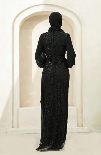 Payetli Şifon Abiye Elbise 5516-06 Siyah