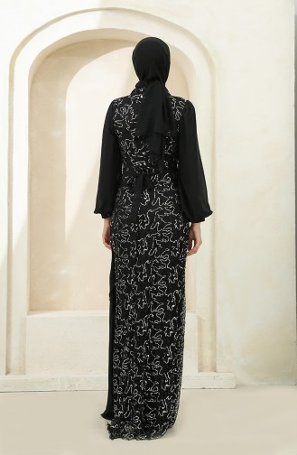 Schwarz Hijab-Abendkleider 5516-07