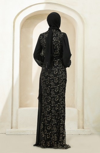 Payetli Şifon Abiye Elbise 5516-08 Siyah Gold