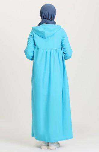 Kapüşonlu Salaş Elbise 21Y8397-06 Turkuaz
