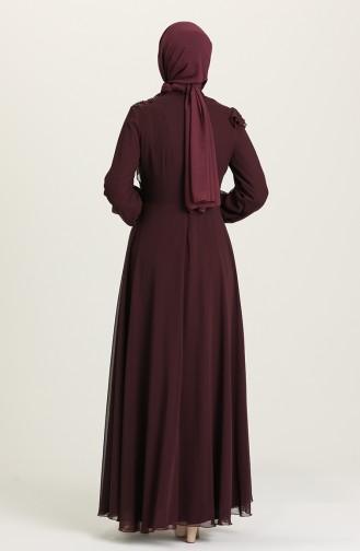 فساتين سهرة بتصميم اسلامي ارجواني داكن 52791-01